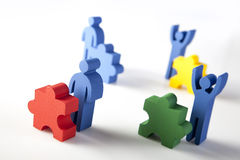 Concept of teamwork, people and icons Royalty Free Stock Photos