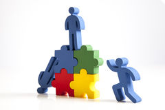 Concept of teamwork, people and icons Stock Photos