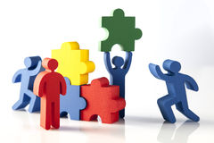 Concept of teamwork, people and icons Royalty Free Stock Photo