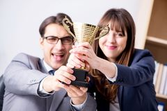 The concept of teamwork with prize. Concept of teamwork with prize stock photo