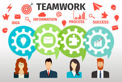 Concept of teamwork for web and infographic.  Royalty Free Stock Image