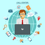 Concept of Technical Online Support Call Center. Computer Remote Nonstop Support Service. Vector illustration in flat style Royalty Free Stock Photo