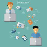 Concept of Technical Online Support. Computer Remote Nonstop Support Service. Vector illustration in flat style Stock Photography