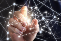 Concept technologieën voor verbindende mensen stock fotografie