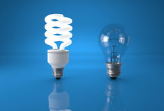 Concept of technology evolution. Energy saving bulb comparing to Royalty Free Stock Images