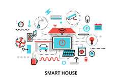 Concept of technology smart house with control vector illustration