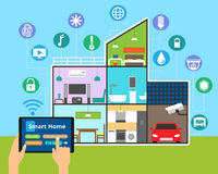 Concept of technology smart house. Modern flat design vector illustration, concept of technology smart house with control of any house systems: lighting Royalty Free Stock Photos