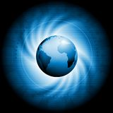 Concept technology swirl design. Dark swirl technology background with globe Stock Photo