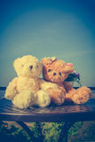 Concept teddy bears couple with love and relationship for valent Stock Photo