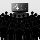 Concept. Telezombirovanie. TV audience. The team of people watch. Ing television Royalty Free Illustration