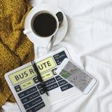 Concept terminal exprès de programme de ligne d'autobus Photographie stock libre de droits