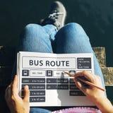 Concept terminal exprès de programme de ligne d'autobus Image stock