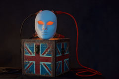 Concept of terrorism.England flag box ,jumper cables and mask Stock Photos