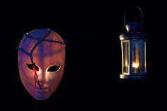 Concept of terrorism.mask, muslim rosary and lantern on dark stock images