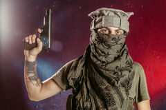 Concept about terrorism. Terrorist with his weapon. Concept about terrorism Royalty Free Stock Photos