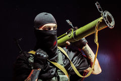 Concept about terrorism. Terrorist with his weapon. Concept about terrorism Royalty Free Stock Images