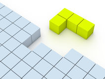 Concept of tetris game. 3d rendering Royalty Free Stock Photography
