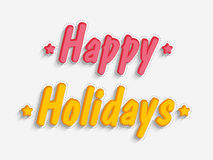 Concept of text design of Happy Holidays. Stock Images