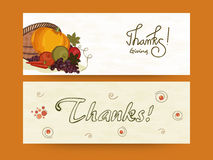 Concept of Thanksgiving website header or banner. Stock Photo