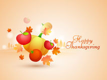 Concept of Thanskgiving Day with maple leafs, veg and fruits. Royalty Free Stock Photo