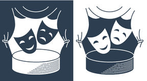 Concept theater  in the form of theatrical masks Royalty Free Stock Photo