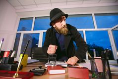 Concept. Thief steals in the office. Spy in the office. Concept. Thief steals in the office. Spy in the office royalty free stock photography