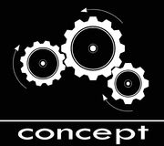 Concept think. Cogwheel sketch think and concept or calculating Stock Photo