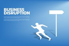 Silhouette of businessman change direction to run. vector illustration
