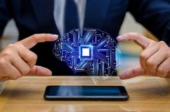 Concept of thinking.background with brain CPU Mind series technology symbols subject of computer science, artificial stock photos