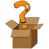 Concept of thinking outside of the box with a question mark cart. Cartoon question mark thinking outside of the box Royalty Free Stock Image