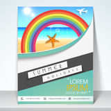 Concept of three fold flyer or brochure for tourism. Stock Photos