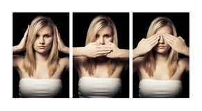 Concept of the Three Wise Monkeys Stock Photography