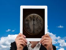 Concept of time in business. With tablet royalty free stock photos