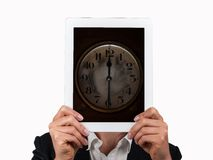 Concept of time in business. And tablet Stock Image
