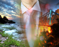 Concept of time with businessman and city Royalty Free Stock Photo