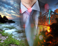 Concept of time with businessman and city Stock Photography