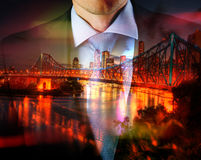 Concept of time with businessman and city Royalty Free Stock Image