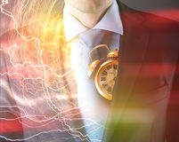 Concept of time with businessman and clock Royalty Free Stock Photos