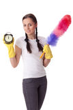 Concept time for cleaning. Royalty Free Stock Photography