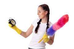 Сoncept time for cleaning. Royalty Free Stock Photos