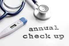 Concept time health check up on white background stock images