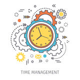 Concept of time management. Clock with gears and icons in the style of line art. Flat design, line art vector illustration Royalty Free Stock Photography