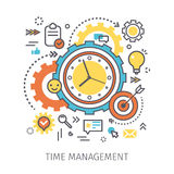 Concept of time management. Clock with gears and icons in the style of line art. Flat design, line art vector illustration Stock Photo