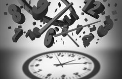 Concept Of Time Management. And controlling business planning efficiency as a group of falling clock pieces creating an organized cast shadow of a complete Royalty Free Stock Images
