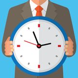 Concept of time management. Human with clock. Vector illustration Stock Photos