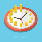 Concept of time management. Time is money, business planning. Vector concept illustration Stock Photography