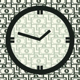 Concept Time Is Money. Clock on Seamles Pattern Stock Image