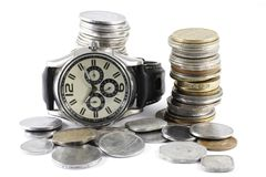 A Concept of Time and Money Stock Photo