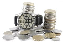 A Concept of Time and Money Royalty Free Stock Photos