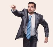 Running businessman on white background Royalty Free Stock Images